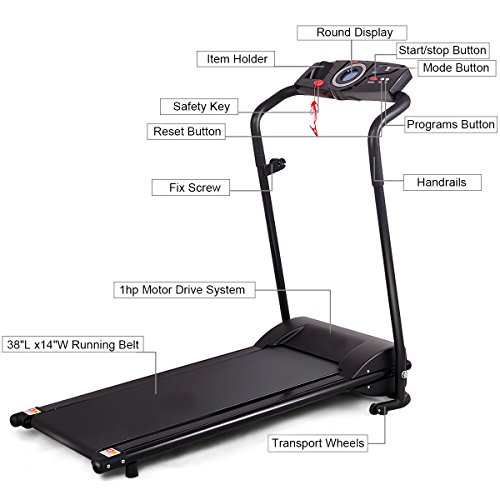 GYMAX Folding Electric Portable Treadmill Low Noise Jogging Walking Running Machine Exercise Treadmill w/Safety Key by GYMAX (Image #4)