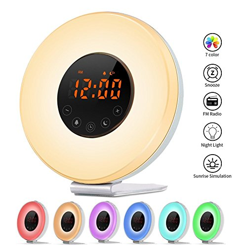Radio Sunrise Alarm Clock, AK1980 Wake Up Light with 7 Colors Nature Sounds Snooze Function for Kids Teens Girls by AK1980