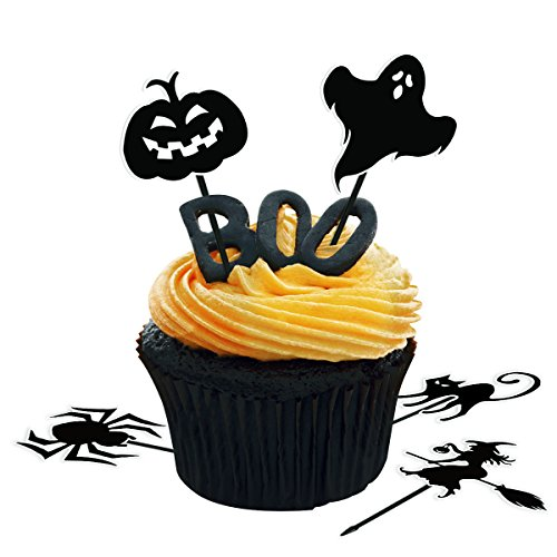 Amosfun 72pcs Halloween Cupcake Toppers Halloween Cake Toppers Pumpkin Cupcake Picks Spider Fruits Picks for Halloween Party Decorations Party Supplies]()