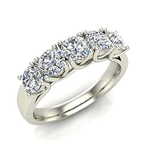 1.10 ct tw Classic Five Stone Diamond Wedding Band Ring 14k White Gold (Ring Size 8.5) - 14k Gold Classic Wedding Band