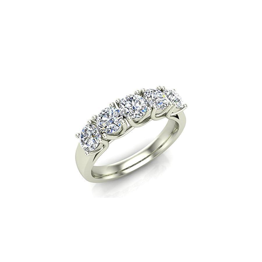 1.10 ct tw Classic Five Stone Diamond Wedding Band Ring 14K Gold (G,I1) Premium Quality