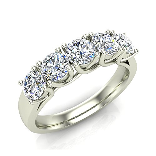 Five-Stone Wedding Band 14K Gold Classic Trellis Setting Diamond Ring 1.10 Carat Total Weight (G,VS) Comfort Fit