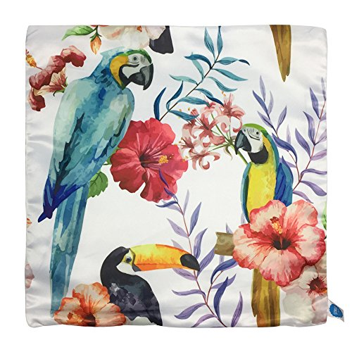 """(StarGo Throw Pillow Cover Summer Tropical Rain forest Birds Leaves Flowers Silk like Square Decorative Cushion Covers Pillowcases Sofa Couch Coffee Accent Kids and bed 18""""x18"""" (Macaw and Toco Toucan))"""