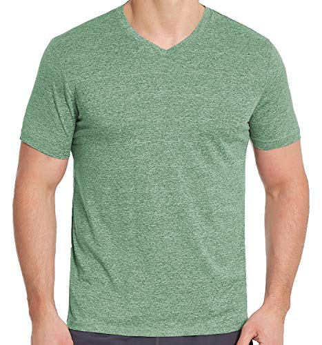 - Men's V Neck Athletic Shirts, Dry Fit Short Sleeve Workout Tees (XL, Green)