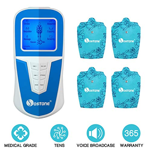TENS Unit Pulse Massager,EC VISION Portable Large Screen Voice Broadcast Professional Body Muscle Stimulator Machine for Pain Relief with Easy Operating 6 Modes