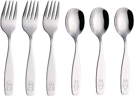 2 x Cucchiai Cena 2 x coltelli 2 x forchetta EXZACT in acciaio inox per bambini Posate 6 pezzi Set Elefante x 6
