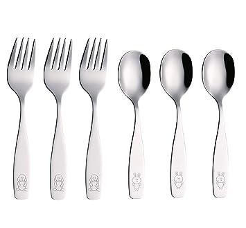 EXZACT Cubertería infantil 6 pieza para niños de Acero Inoxidable - 3 x cena cuchillo, 3 x cena cuchar (Perro & Conejo x 6)