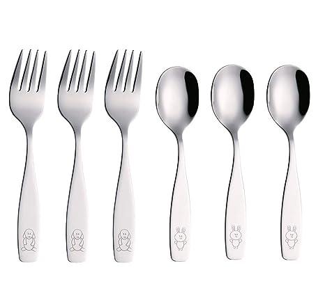 EXZACT - 6 pieza para niños cubertería - 3 x cena cuchillo, 3 x cena