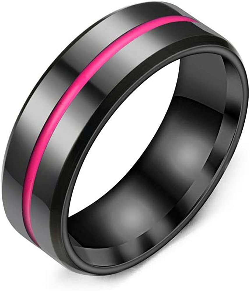 Ring 8mm Carbon Steel Band [1pcs] Wedding Bands Ring, Engagement Ring, Lovers or Couple Ring, Finger Decoration Ring, High Polish Smooth Surface and Inlaid Narrow Silicone Band