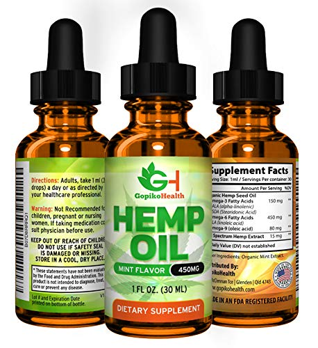 Hemp Oil Extract 450 for Pain and Stress Relief, Anti-Anxiety Support Pure Natural Organic Hemp Oil. Best Premium Full Spectrum Hemp Extract for Men, Women. Also Helps Sleep, Skin & Hair