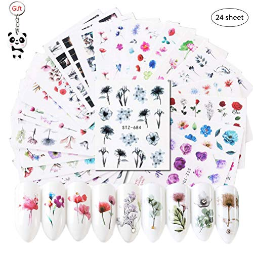 SUMAJU 24 Sheets Nail Decals, Nail Stickers with Assorted Patterns DIY Watermark Fingernail Art Accessories for Women & Girls
