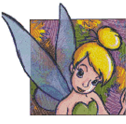 Disney Colorful Tinkerbell Counted Cross Stitch Pattern