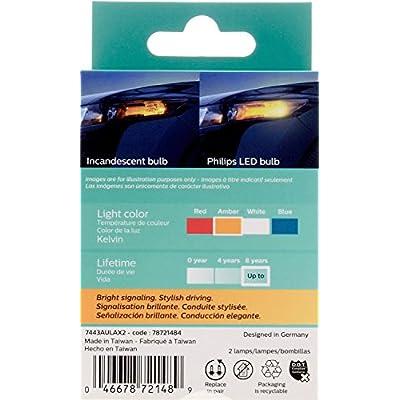 Philips 7443ALED Ultinon LED Bulb (Amber), 2 Pack: Automotive