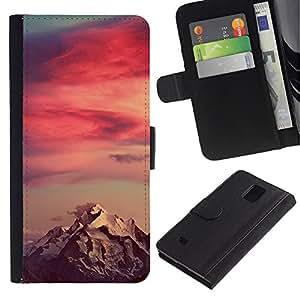 APlus Cases // Samsung Galaxy Note 4 SM-N910 // Puesta de sol Montaña Nieve Rojo Cielo Nubes // Cuero PU Delgado caso Billetera cubierta Shell Armor Funda Case Cover Wallet Credit Card