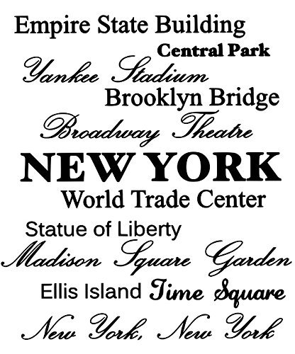 LoveDecals Empire state building, Central park, Yankee stadium, Brooklyn bridge, Broadway Theatre, NEW YORK, World Trade Center, Statue of Liberty, Madison Square Garden, Ellis Island, Time Square, New York New York Vinyl wall art Inspirational quotes and saying home decor decal sticker steamss