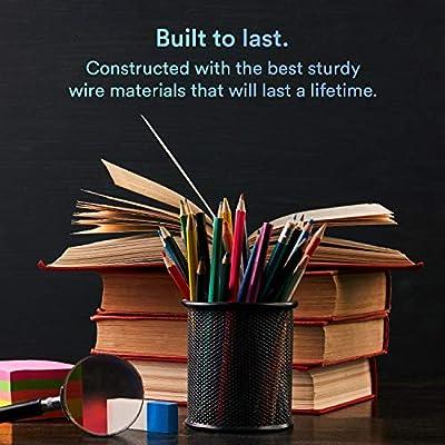 [4 Pack] Pen Holder - Pencil Holder for Desk - Metal Mesh Office Desk Pen Organizer Holders - Medium Sized Black Pen Cup Pencil Cup