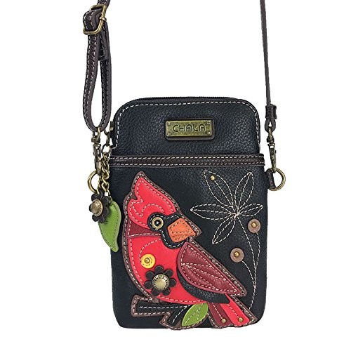 Chala Crossbody Cell Phone Purse-Women PU Leather Multicolor Handbag with Adjustable Strap - Cardinal Black by CHALA