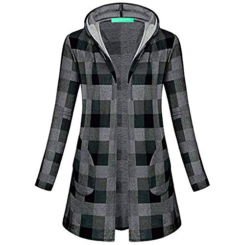 Plaid Lunga Vintage Mode De Cappuccio Inverno Outdoor Autunno Moda Manica  Elegante Tasche Capispalla Grigio Casual ... 8183e809e6b