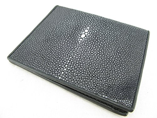 Genuine Wallet Black Polished PELGIO Leather Bifold Black Stingray Skin vxBwAdSaq