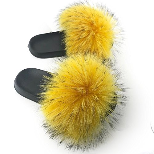 Flat Slides Fur Luxury Yellow Soft Vesa Raccon Soles Manka Summer Outdoor Slippers Shoes Real Indoor Womens EXqvZXwBx0