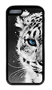 Custom Soft Black TPU Protective Case Cover for iPhone 5C,Tiger with Blue Eyes Case Shell for iPhone 5C