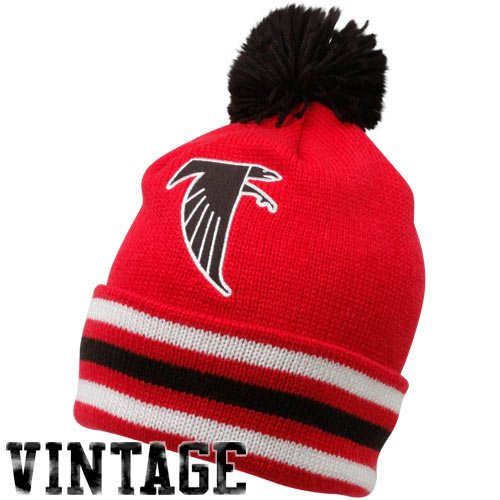 Atlanta Falcons Red-Black Throwback Jersey Striped Cuffed Knit Beanie (Mitchell Black Football Jersey)