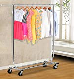 Yaheetech Commercial Premium Stainless Steel Heavy Duty Adjustable Collapsible Clothing Garment Rack Chrome