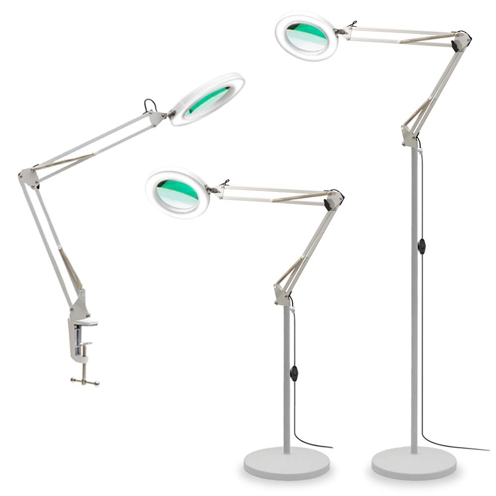 TOMSOO Magnifying Lamp, 3-in-1 LED Magnifier Floor Lamp with Utility Clamp, 2-Color Temperature Lights with 5X Magnifying Glass Lens - Adjustable Daylight Bright Standing Lamp for Workbench (White)