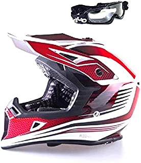 Viper rs-x95RAZR carbone de motocross MX Enduro Quad ATV Off Road Casque de vélo Rouge Couleur avec lunettes de natation x-large