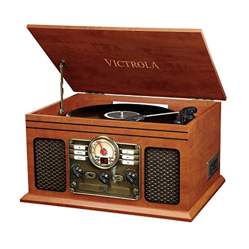 Victrola Nostalgic Classic Wood 6-in-1 Bluetooth Turntable Entertainment Center, Mahogany (Record Player Jukebox)