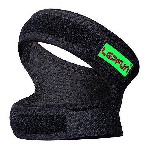 "Lepfun P3000 Patella Knee Strap,Adjustable Dual Strap Band Brace for Knee Support- Fit Running, Basketball and Arthritis.Black(1 Piece),11"" – 22"" (Large)"