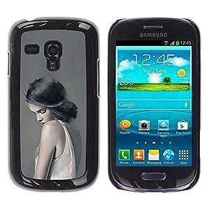 For Samsung Galaxy S3 III MINI (NOT REGULAR!) / I8190 / I8190N Case , Woman Lady Sad Feminine Grey Deep - Diseño Patrón Teléfono Caso Cubierta Case Bumper Duro Protección Case Cover Funda