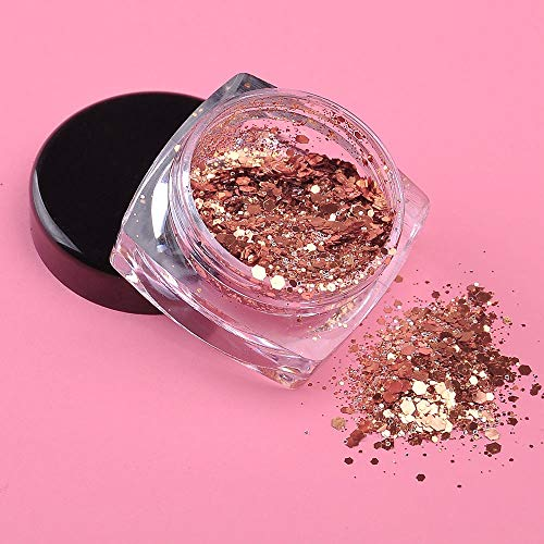 SaveStore Manicure Dazzling 3D Dust Powder Rose Gold Glitter Powder 3g Nail Art Mix Size Sequins Nail Salon Products
