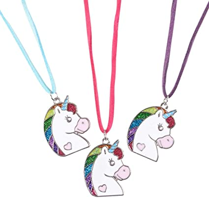 Lot of 12 Unicorn Necklaces Girl's Birthday Party Favors Rainbow Fantasy Jewelry Party Favours & Bag Fillers Celebration & Occasion Supplies