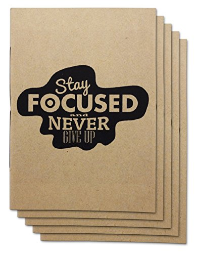 Handmade 4 x 6 inches Notebook / Stay Focus Quote / 60 Unlined Page | Lay Flat Binding | Cream Paper – Set of 5