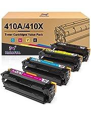 Halofox Compatible Toner Cartridge Replacement for HP 410A CF410X CF411X CF412X CF413X Pro MFP M377dw M452dn M452dw M452nw M477fdw M477fnw M477fdn (Black, Yellow, Cyan, Magenta, 4-Pack)