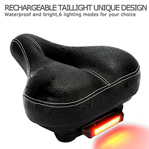 DAWAY C900 Bike Seat with Rechargeable Taillight - Men Women Foam Padded Leather Wide Bicycle Saddle Cushion, Comfortable, Waterproof, Dual Spring, Soft, Breathable, Universal, 1 Year Warranty, Black by DAWAY (Image #3)