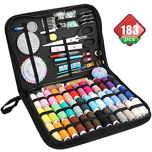 Sewing Kit for Adults/Kids/Girls/Men/Women/College Students/Travel/Beginners/Emergency. 183 Premium Sewing Accessories Supplies Sewing Kit Included Basic Sewing Threads/Needles/Tape Measure/Scissors