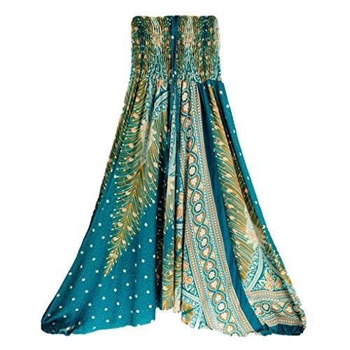 (CSSD Women {Thai Harem} Trousers {Boho Aladdin} Jumpsuit {Harem Pants} {Hippy Smock} {High Waist} {Yoga} Pants (Free Size, Green) )