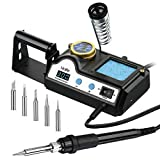 Soldering Iron Station Kit, PICTEK Soldering Station 60W with Variable Temperature from 90 ° C to 480 ° C [194 ° F - 896 ° F], Three-pin Plug Powered Digital Solder Station with 5pcs Extra Iron Tips, ℃/℉ Switch, Sleep Function, Digital Calibration, Holder and Cleaning Element