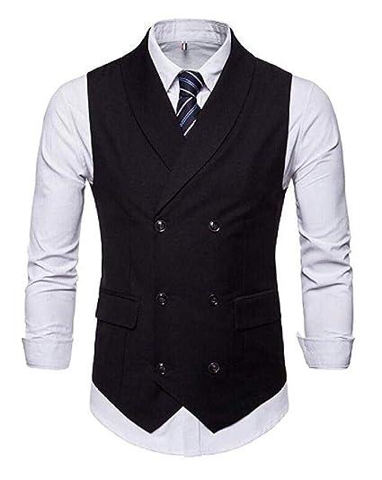 e49c4a21386 Men s Double Breasted Purple Vest Shawl Lapel Waistcoat Business Suits Vest   Amazon.co.uk  Clothing