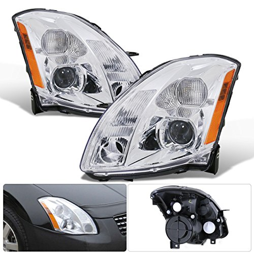 For 04 05 06 2004 2005 2006 Nissan Maxima 1 Piece Projector Chrome Housing Clear Lens Amber Reflector Corner Jdm Upgrade Replacment Assemebly Headlights