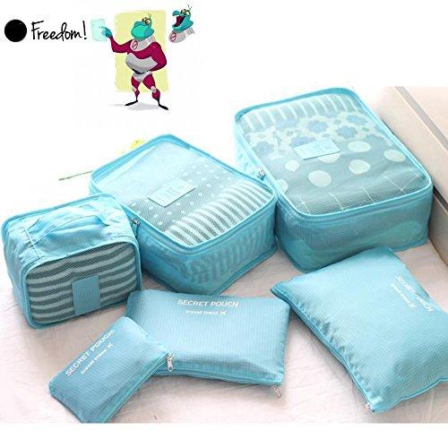 Waterproof 5-Piece Packing Bags (Sky Blue) - 2