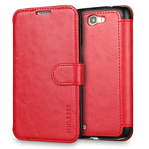 Galaxy Note 2 Case Wallet,Mulbess [Layered Dandy][Vintage Series][Wine Red] - [Ultra Slim][Wallet Case] - Leather Flip Cover With Credit Card Slot for Samsung Galaxy Note 2 N7100 - Note 2 Leather Wallet