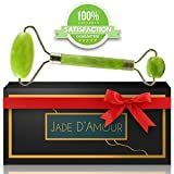 Jade Facial Roller - Face Massager & Anti Aging Treatment | Beauty Therapy for Puffy Eyes, Skin Care, Lymphatic Drainage | Reduce Wrinkles, Bags | Natural Slimming, Toning Tool | 100% Real & Authentic