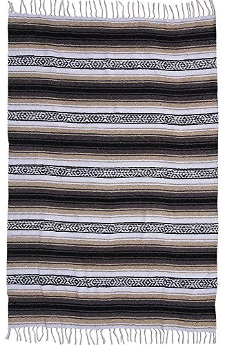 El Paso Designs Genuine Mexican Falsa Blanket - Yoga Studio Blanket, Colorful, Soft Woven Serape Imported from Mexico (Beige) by El Paso Designs (Image #5)