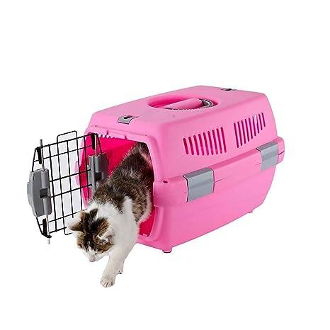 FXQIN Transportín de plástico para Perros y Gatos, Caja de Viaje ...