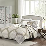Rachel 6 Piece Reversible Quilted Coverlet Set Taupe King/Cal King