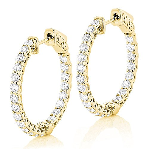 14K Gold Ladies 1inch Diamond Hoops Inside Out Diamond Hoop Earrings 2.2ctw G-H color (Yellow Gold)
