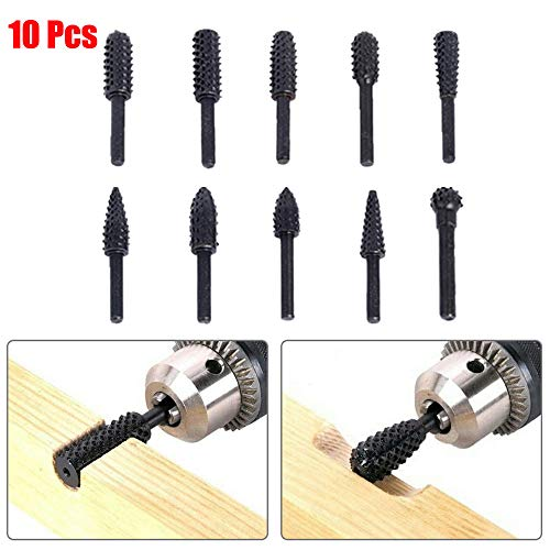 Euone  Shank Rotary File Clearance , 10pcs Rotary Burr Set Wood Carving File Rasp Drill Bits 1/4 inch 6mm Shank